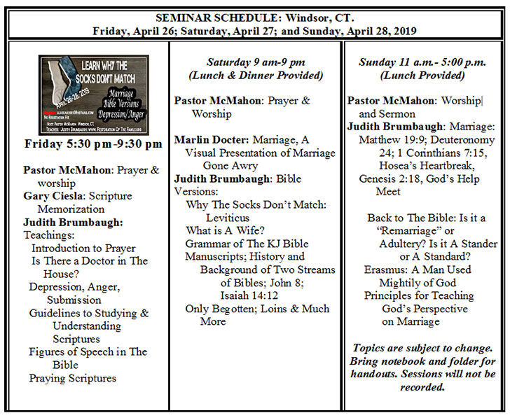 Seminar Schedule April 26-28, 2019 - Restoration Of The Family